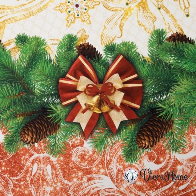 Новогодняя скатерть круглая Волшебство WSI D220см с защитным покрытием 100% хлопок